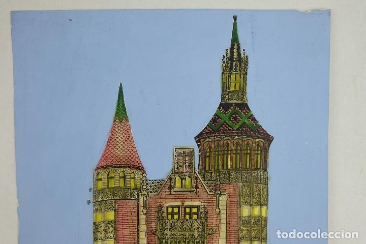Arte: Acuarela gouache y tinta sobre papel vista edificio Diagonal Barcelona firmado Castella 1989 - Foto 3 - 125424915