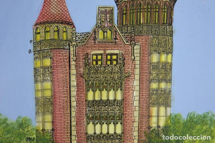 Arte: Acuarela gouache y tinta sobre papel vista edificio Diagonal Barcelona firmado Castella 1989 - Foto 4 - 125424915