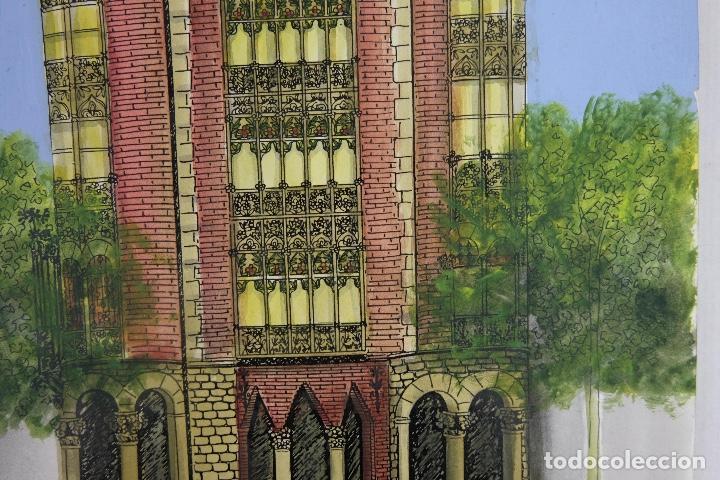 Arte: Acuarela gouache y tinta sobre papel vista edificio Diagonal Barcelona firmado Castella 1989 - Foto 5 - 125424915