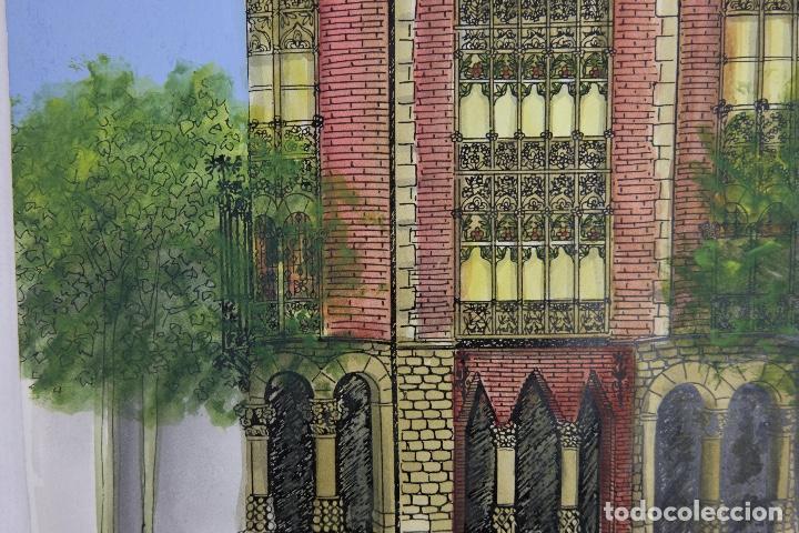 Arte: Acuarela gouache y tinta sobre papel vista edificio Diagonal Barcelona firmado Castella 1989 - Foto 6 - 125424915