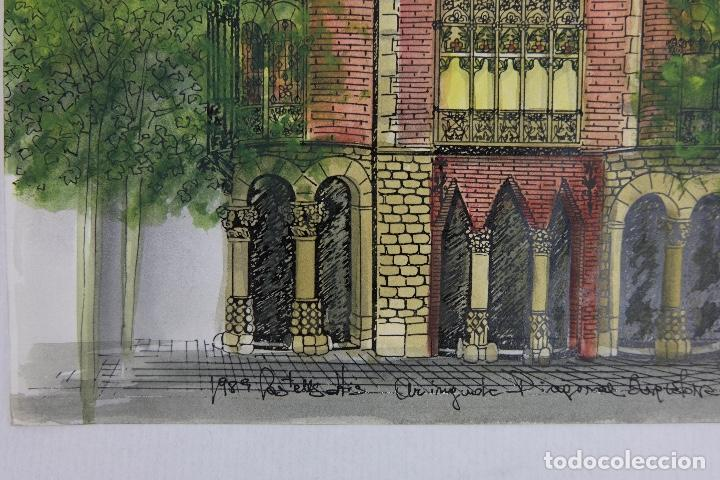 Arte: Acuarela gouache y tinta sobre papel vista edificio Diagonal Barcelona firmado Castella 1989 - Foto 7 - 125424915