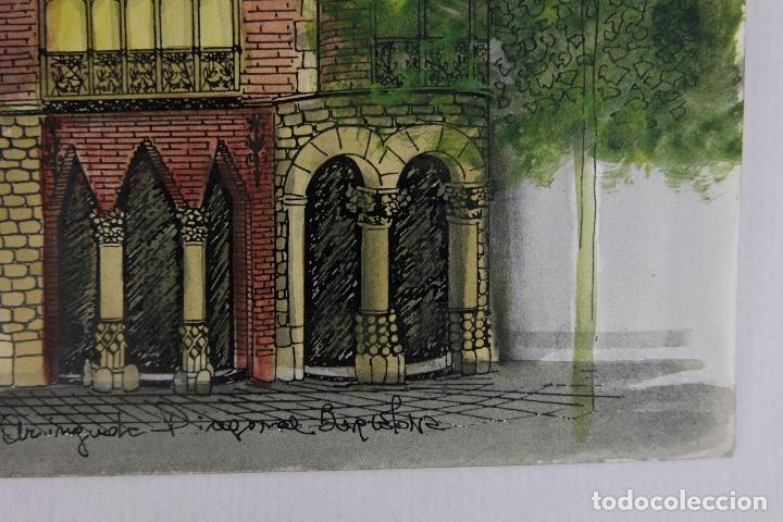 Arte: Acuarela gouache y tinta sobre papel vista edificio Diagonal Barcelona firmado Castella 1989 - Foto 8 - 125424915