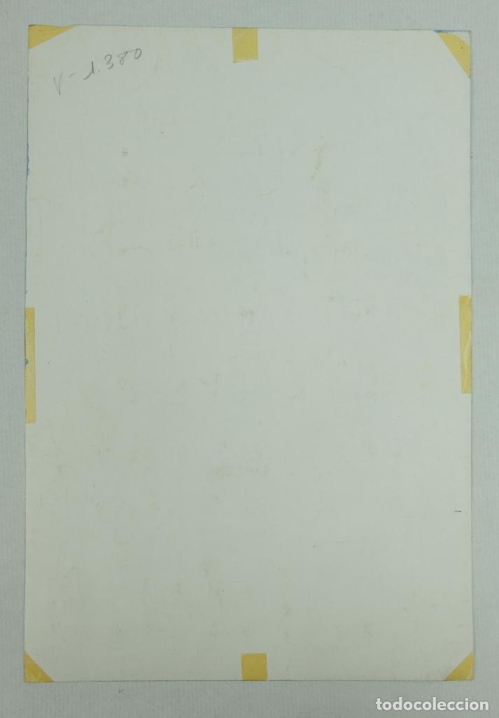 Arte: Acuarela gouache y tinta sobre papel vista edificio Diagonal Barcelona firmado Castella 1989 - Foto 9 - 125424915