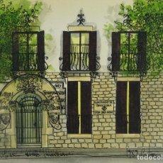 Arte: ACUARELA Y TINTA SOBRE PAPEL ESCUELA MONTESSORI BARCELONA FITMADO CASTELLA 1989. Lote 125424943