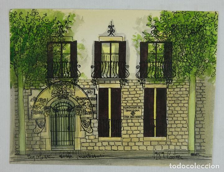Arte: Acuarela y tinta sobre papel escuela montessori Barcelona fitmado Castella 1989 - Foto 2 - 125424943