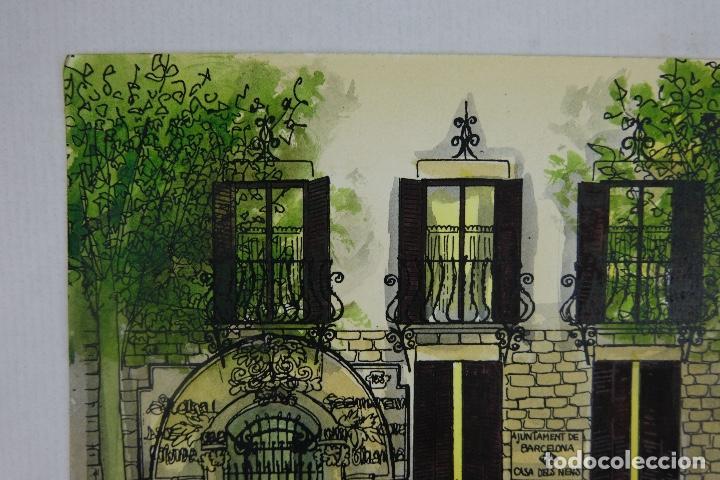 Arte: Acuarela y tinta sobre papel escuela montessori Barcelona fitmado Castella 1989 - Foto 3 - 125424943
