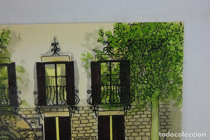 Arte: Acuarela y tinta sobre papel escuela montessori Barcelona fitmado Castella 1989 - Foto 4 - 125424943