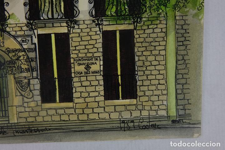 Arte: Acuarela y tinta sobre papel escuela montessori Barcelona fitmado Castella 1989 - Foto 5 - 125424943