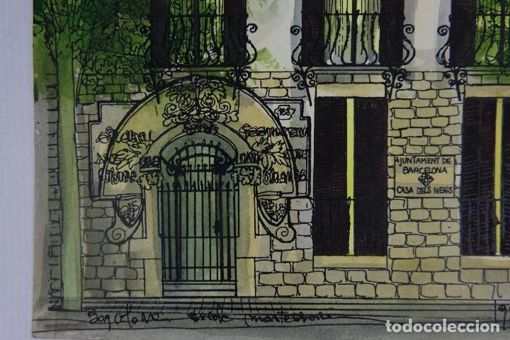 Arte: Acuarela y tinta sobre papel escuela montessori Barcelona fitmado Castella 1989 - Foto 6 - 125424943