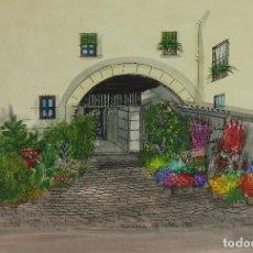 Arte: ACUARELA GOUACHE Y TINTA SOBRE PAPEL VISTA ENTRADA DE CASA CON FLORES FIRMADO CASTELL 1986 BARCELONA. Lote 125425487