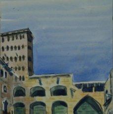 Arte: ACUARELA Y GOUACHE SOBRE PAPEL VISTA EDIFICIO FIRMA ILEGIBLE 1993. Lote 125425499