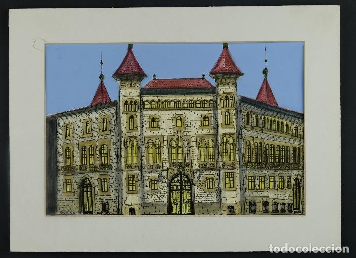 Arte: Gouache y acuarela sobre papel Vista edificio firmado Castella Barcelona 1989 - Foto 2 - 125425507