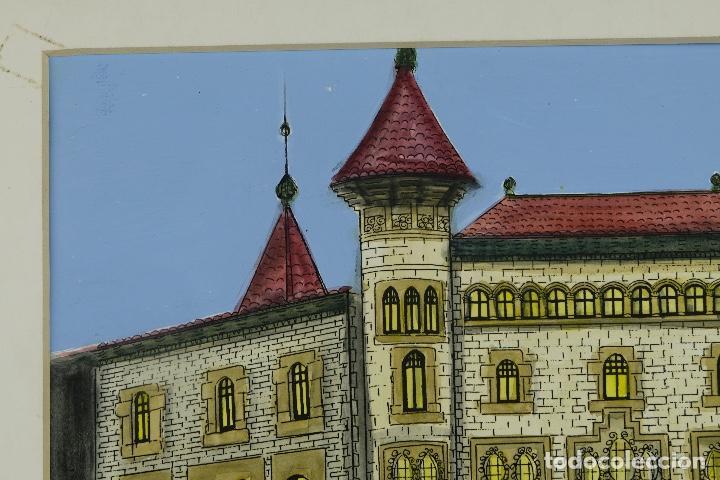 Arte: Gouache y acuarela sobre papel Vista edificio firmado Castella Barcelona 1989 - Foto 3 - 125425507