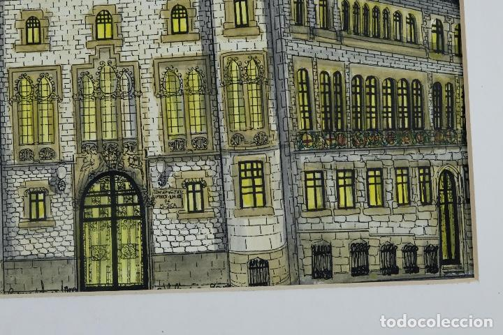 Arte: Gouache y acuarela sobre papel Vista edificio firmado Castella Barcelona 1989 - Foto 6 - 125425507