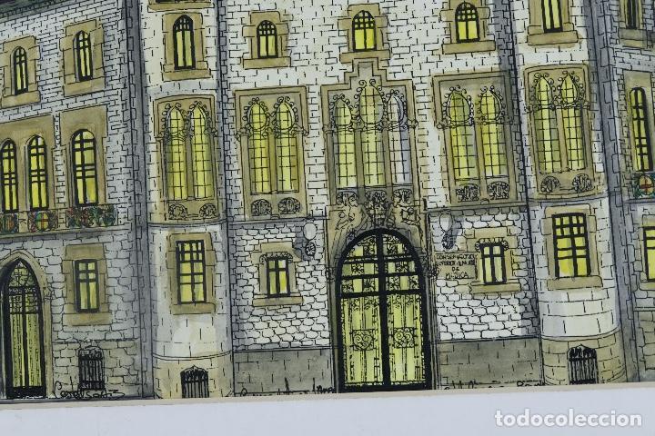 Arte: Gouache y acuarela sobre papel Vista edificio firmado Castella Barcelona 1989 - Foto 7 - 125425507