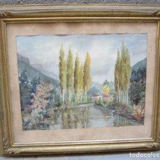 Arte: DAVID MERCADÉ, LAGO, ACUARELA. 78X67CM. Lote 125895763