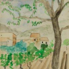 Arte: ACUARELA SOBRE PAPEL PAISAJE FIRMADO J.MUSONS MEDIADOS SIGLO XX. Lote 125946635