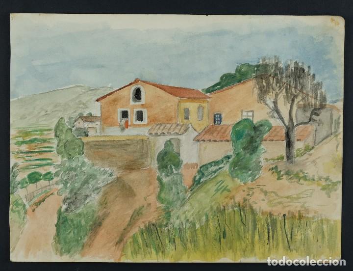 Arte: Acuarela sobre papel Paisaje Cases d'Esplugues mediados siglo XX - Foto 2 - 125947843