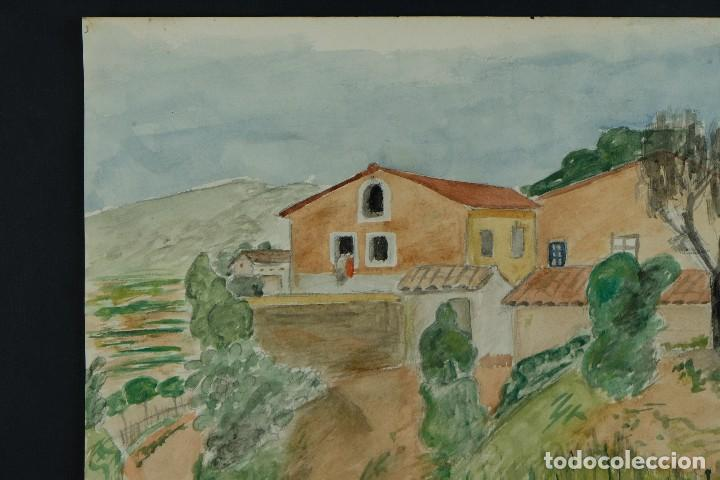 Arte: Acuarela sobre papel Paisaje Cases d'Esplugues mediados siglo XX - Foto 3 - 125947843
