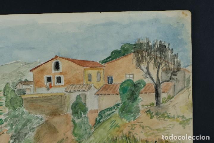 Arte: Acuarela sobre papel Paisaje Cases d'Esplugues mediados siglo XX - Foto 4 - 125947843
