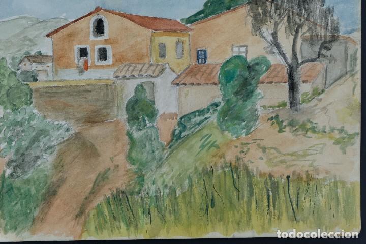 Arte: Acuarela sobre papel Paisaje Cases d'Esplugues mediados siglo XX - Foto 5 - 125947843