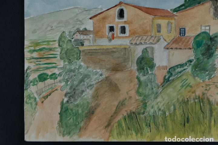 Arte: Acuarela sobre papel Paisaje Cases d'Esplugues mediados siglo XX - Foto 6 - 125947843