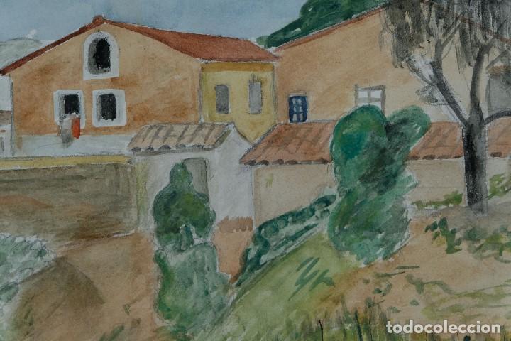 Arte: Acuarela sobre papel Paisaje Cases d'Esplugues mediados siglo XX - Foto 7 - 125947843