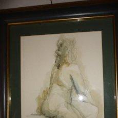 Arte: DESNUDO FEMENINO, AGUADA, 30X40, EN MARCO MADERA DORADA Y PASPARTU, 51X62, FECHADO 1997,Y FIRMA. Lote 126466923