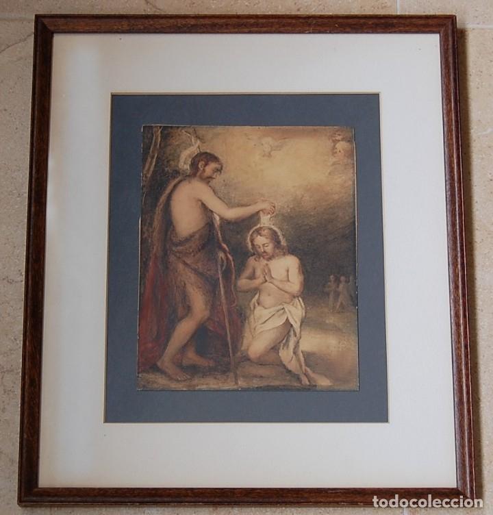 Arte: Original del siglo XVIII - Bautismo de Jesús en el Jordán - Foto 2 - 54261252