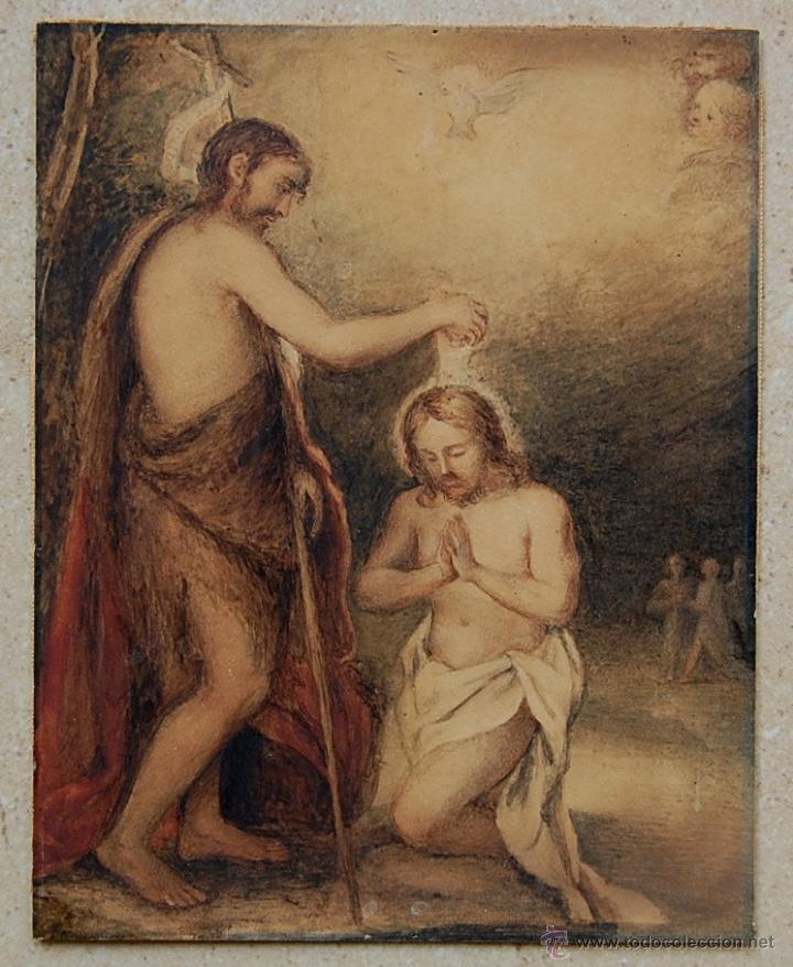Arte: Original del siglo XVIII - Bautismo de Jesús en el Jordán - Foto 3 - 54261252