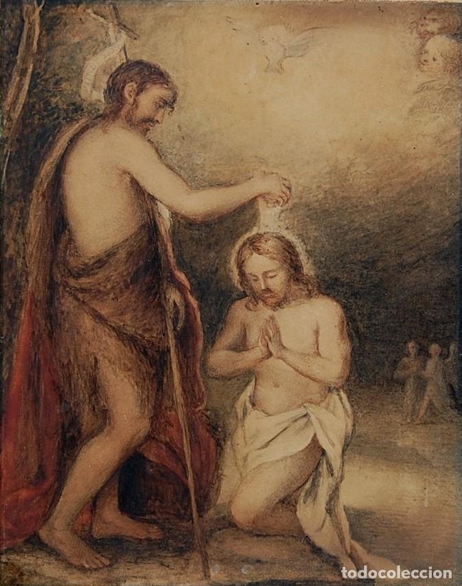 ORIGINAL DEL SIGLO XVIII - BAUTISMO DE JESÚS EN EL JORDÁN (Arte - Acuarelas - Antiguas hasta el siglo XVIII)