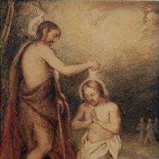 Arte: ORIGINAL DEL SIGLO XVIII - BAUTISMO DE JESÚS EN EL JORDÁN. Lote 54261252