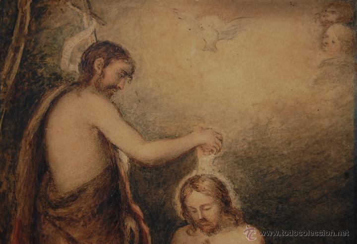 Arte: Original del siglo XVIII - Bautismo de Jesús en el Jordán - Foto 4 - 54261252