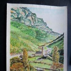 Arte: ACUARELA / PUEBLO DE BIELSA ( HUESCA ) AUTOR - JOSEP CAPDEVILA ( MANRESA ) ORIGINAL / 51 X 36. Lote 126748679
