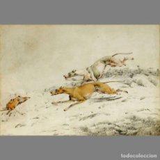Arte: HENRY ALKEN (BRITÁNICO 1785-1851). LA CAZA DEL CONEJO/ THE RABBIT HUNT. ACUARELA SOBRE PAPEL. 24,1X3. Lote 127237430