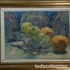 Arte: JOAN FORT GALCERÁN ACUARELA CON BODEGÓN FIRMADA. Lote 127343659