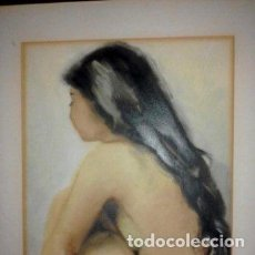 Arte: JOAN TORRABADELL ACUARELA CON DESNUDO FEMENINO. Lote 127352083