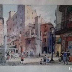Arte: ACUARELA REPRESENTANDO BARCELONA FIRMADA PULVE. Lote 127844991