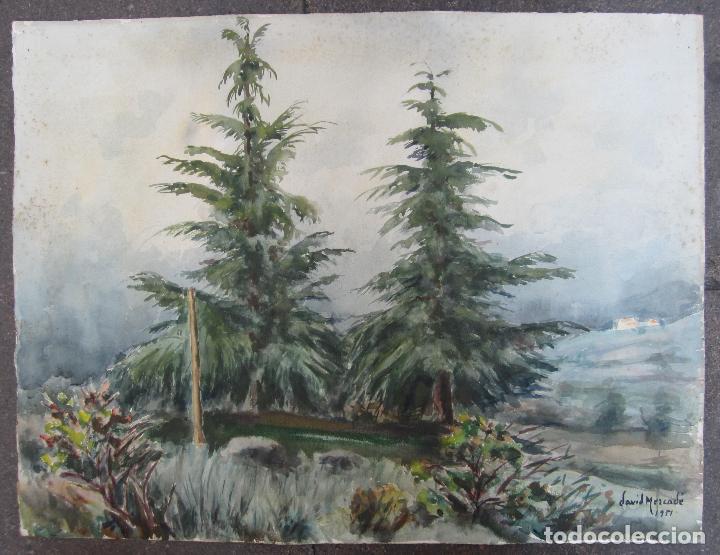 Arte: David Mercadé, acuarela en las dos caras, puerto, barcas y bosque, 1951 - 1952. 59x45cm - Foto 2 - 127911331