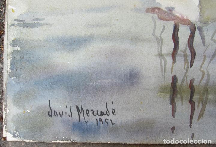 Arte: David Mercadé, acuarela en las dos caras, puerto, barcas y bosque, 1951 - 1952. 59x45cm - Foto 3 - 127911331
