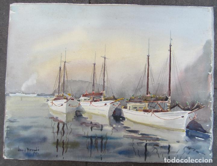 Arte: David Mercadé, acuarela en las dos caras, puerto, barcas y bosque, 1951 - 1952. 59x45cm - Foto 4 - 127911331