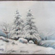 Arte: DAVID MERCADÉ, ACUARELA, BOSQUE NEVADO, 1953. 60X45CM. Lote 127911679