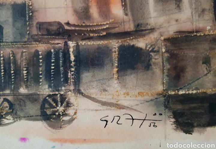Arte: Preciosa, grande e interesantisima acuarela años 50, firmada (ilegible) - Foto 2 - 128058160