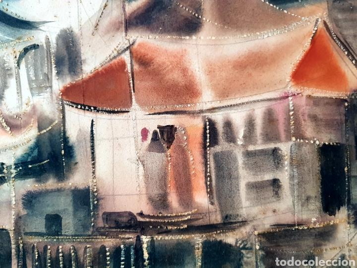 Arte: Preciosa, grande e interesantisima acuarela años 50, firmada (ilegible) - Foto 3 - 128058160