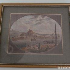 Arte: ANTIGUA ACUARELA FIRMADA Y FECHADA - ETIQUETA WAKEHAM GALLERY PORTLAND FERRY AND PASSAGE HOUSE. Lote 128150367