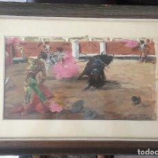 Arte: ANTONIO CASERO ACUARELA ORIGINAL FIRMADA Y FECHADA EN MADRID 1960 , TAUROMAQUIA. Lote 128221039