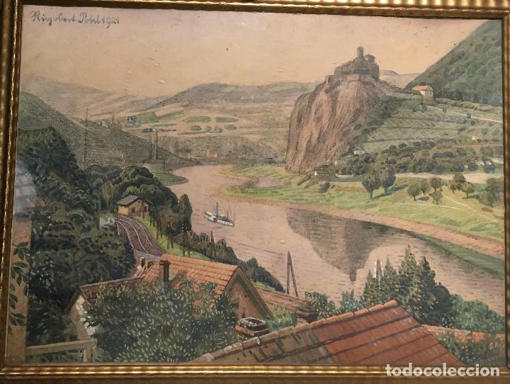 AUSSIG, STREKOV CASTLE, (EN LA REPÚBLICA CHECA) POR RIGOBERT POHL (1884-1965) EN 1921 (Arte - Acuarelas - Contemporáneas siglo XX)