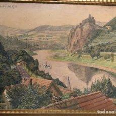 Arte: AUSSIG, STREKOV CASTLE, (EN LA REPÚBLICA CHECA) POR RIGOBERT POHL (1884-1965) EN 1921. Lote 128513183