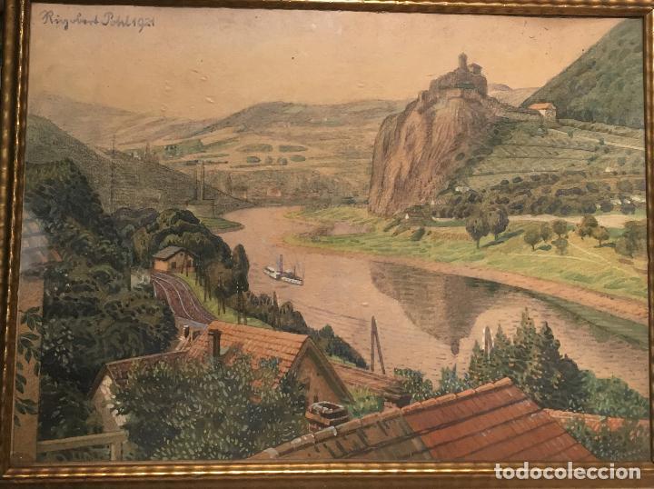 Arte: Aussig, Strekov Castle, (en la República Checa) por Rigobert Pohl (1884-1965) en 1921 - Foto 3 - 128513183