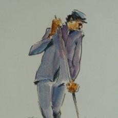 Arte: NACHO COSTA BEIRO (1953) ACUARELA SOBRE PAPEL HOMBRE BARRIENDO FIRMADO. Lote 128572895